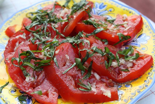 Heirloom Tomatoes with Basil, Garlic, Salt, Pepper, and Olive Oil