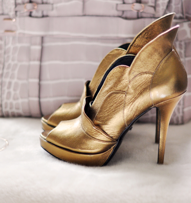 Gold rousseau shoes