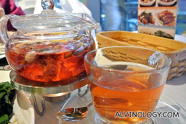 A pot of floral tea