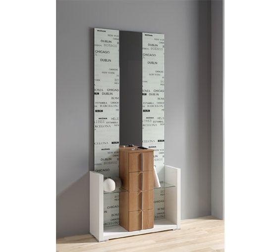 Recibidor con espejo dise o urbano en blanco y mueble con - Espejos con diseno ...