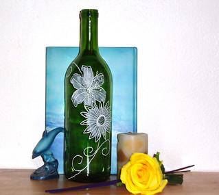 Hand Etched Wine Bottle Incense Burner- Fantasy Island Flowers
