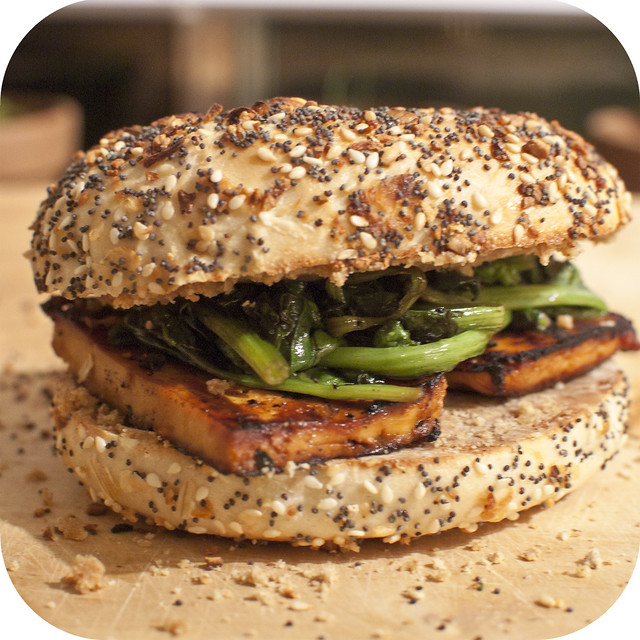 steamed spinach and grilled tofu bagel sandwich – the bear and the ...