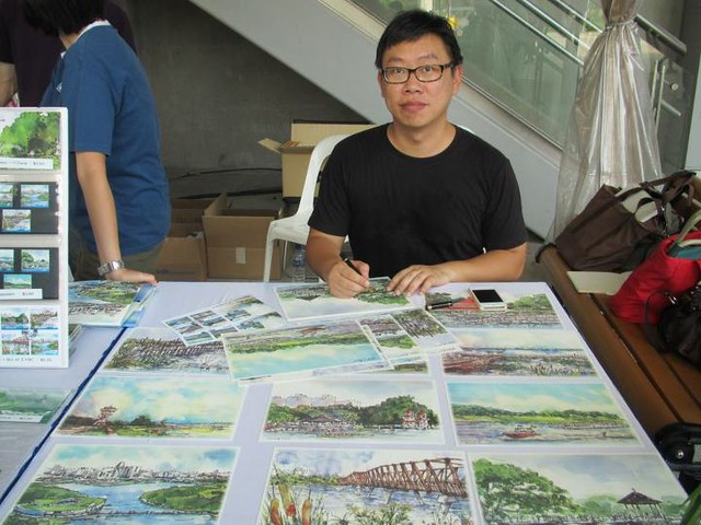 Singapore Urban Sketcher artist, Don Low launched Reservoirs of Singapore Stamp Issue