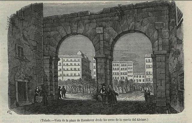 Grabado de los arcos que había en Zocodover hasta 1865 y que ilustraba el Relato sobre El Martes publicado el 4 de mayo de 1851 en el Semanario Pintoresco