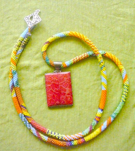 Beaded beads crochet necklace with coral