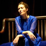 Rebekah Maggor, as Sarah Bernhardt, portrays a gender-bending version of Hamlet in the Huntington Theatre Company's