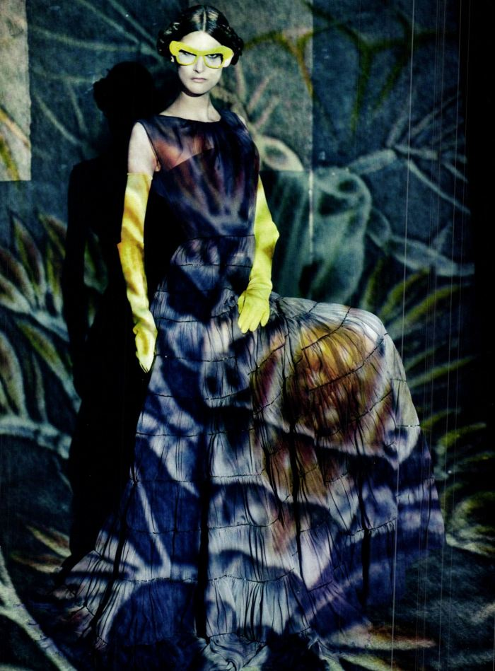 Vogue Italia, March 2012 — A Lady in Spring — Marie Piovesan by Paolo Roversi and styling by Panos Yiapins — Piovesan wears Dior Spring/Summer 2012 Haute Couture