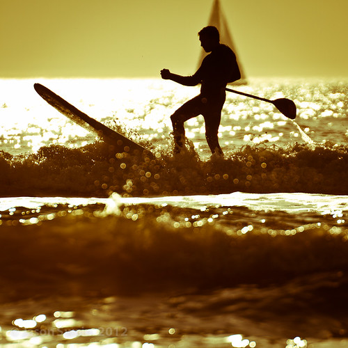 Stand up paddle surfing on the Isle of Wight