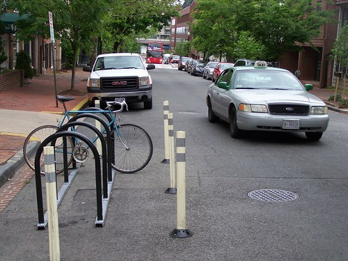 Bike corral on Thomas Jefferson Street NW in Georgetown