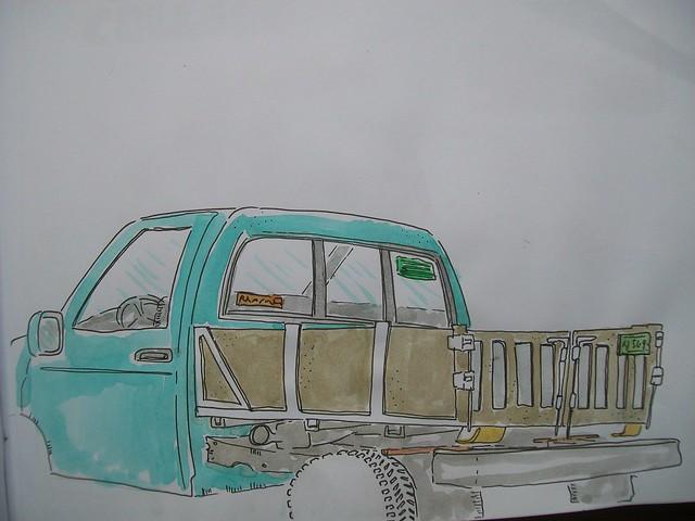 dibujando camioneta de la calle