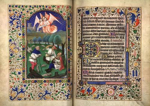 008-Anuncio a los pastores-Fol. 67 verso-Heures d'Isabeau de Roubaix- Bibliothèque numérique de Roubaix  MS 6