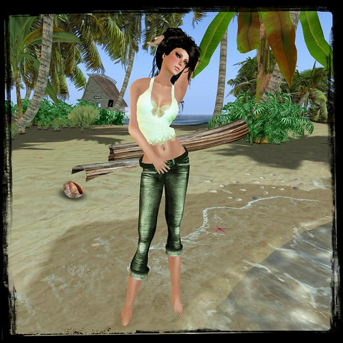 :KR: Jinxed Jeans & Butterfly Tank - Olive by Cherokeeh Asteria
