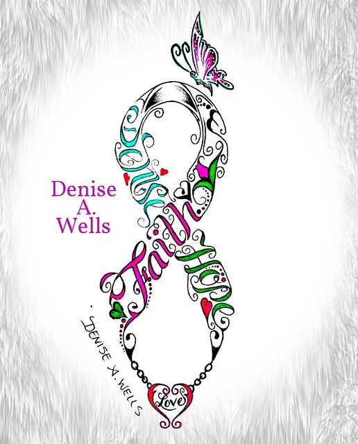 Faith Hope Love Ribbon tattoo design by Denise A. Wells