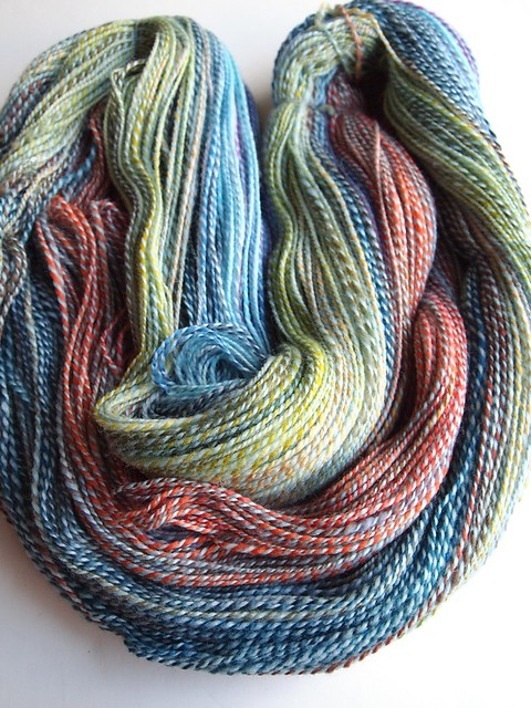 FatCatKnits Rippit Party - various fiber pieces plied with Pale Aqua Falkland-2ply-716yds