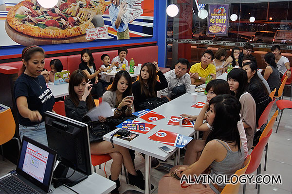 Linda from Domino's Pizza giving the bloggers an introduction to the brand