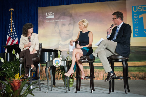 "From left: Jessica Shahin, Associate Administrator, Supplemental Nutrition Assistance Program (SNAP), Mika Brzezinski and Former Congressman Joe Scarborough (R-Fla.) hosts of MSNBC's ""Morning Joe and Masters of Ceremony  listen to Shahin explain the emergency food assistance provided to survivors of Hurricane Katrina at the United States Department of Agriculture's 150th Anniversary celebration in Washington, D.C., on Tuesday, May 15, 2012. USDA photo by Bob Nichols."