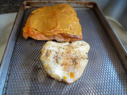 2 kinds of smoked fish. Hot smoked salmon with Sweet Chipotle Mustard and Smoked Cod.