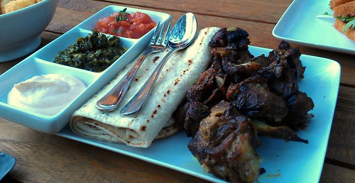 Roasted Lamb Necks w Afghan Bread & Dips