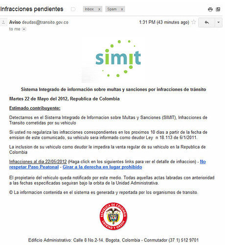 Intento phishing SIMIT fotomultas Colombia