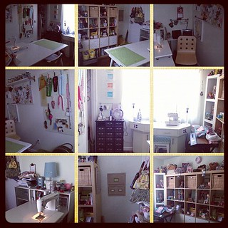 Closet is a mess but #sewingroom is ready for all day sewing Tuesday