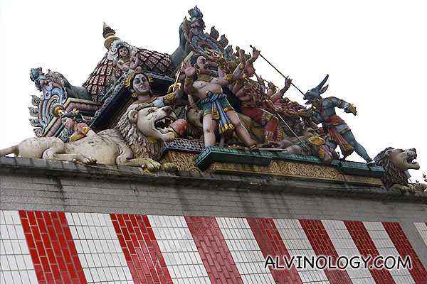 Along the wall of the Hindi temple