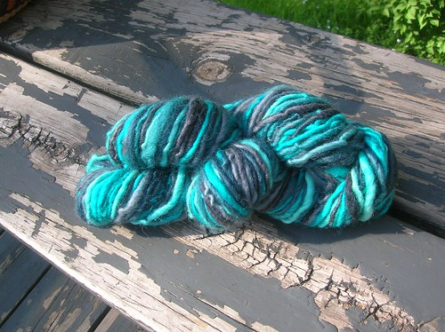 Yarn in pretty BFL aquas
