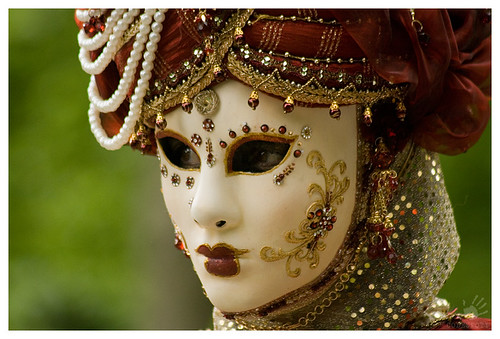 Venetian mask at the Gardens of Annevoie (2012) II by codespoti