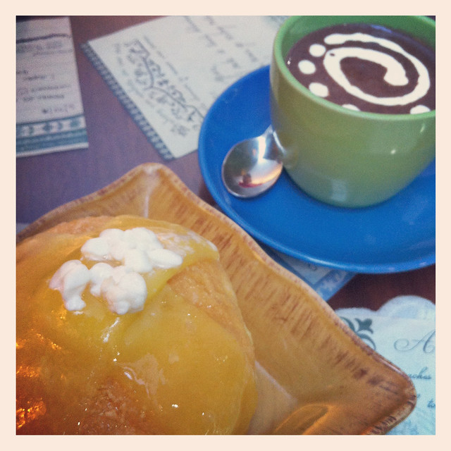 Cafe Mary Grace Three Cheese Ensaymada and Mint Hot Chocolate