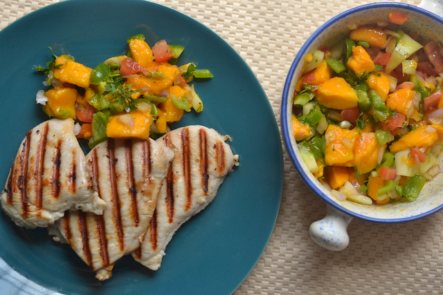 Garlic Lemon Grilled Chicken with Mango Salsa