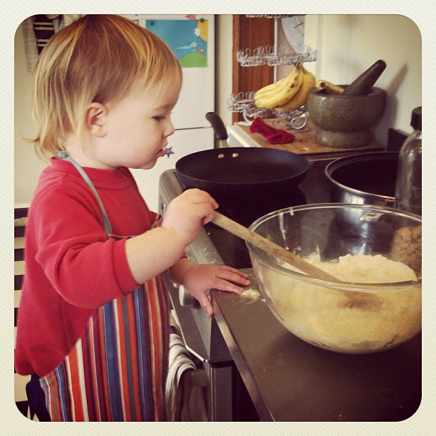 Tiny cooks #baking #toddler #letitgo #thedogwillhelpcleanup