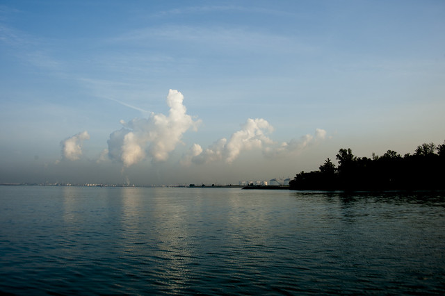 Emissions and flaring at Jurong Island with Pulau Hantu