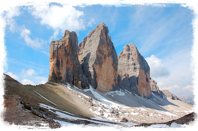 The three peaks of Lavaredo mountains - Dolomites Moutains - Italy - Classified by UNESCO, as world heritage
