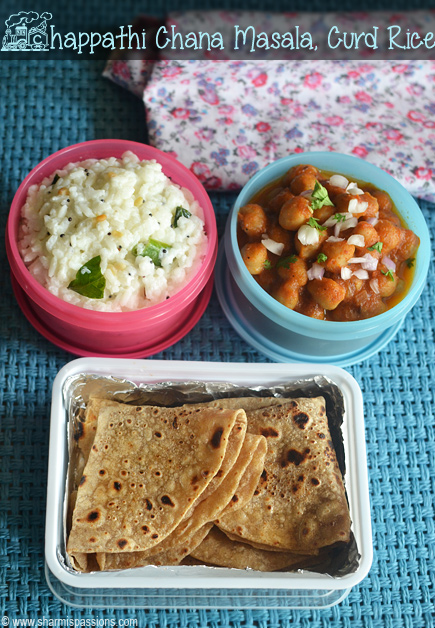 Chapathi, Channa Masala and Curd Rice