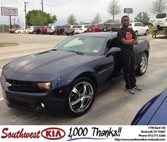 Congratulations to Jason Ukandu on your #Chevrolet #Camaro purchase from Kathy Parks at Southwest KIA Rockwall! #NewCar