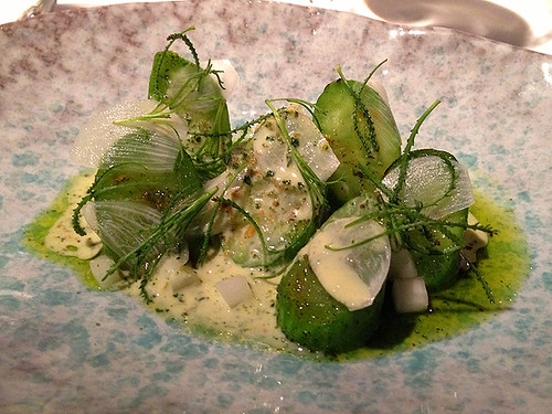 Cucumbers, Holy Flax, Sauce of Burnet at Attica