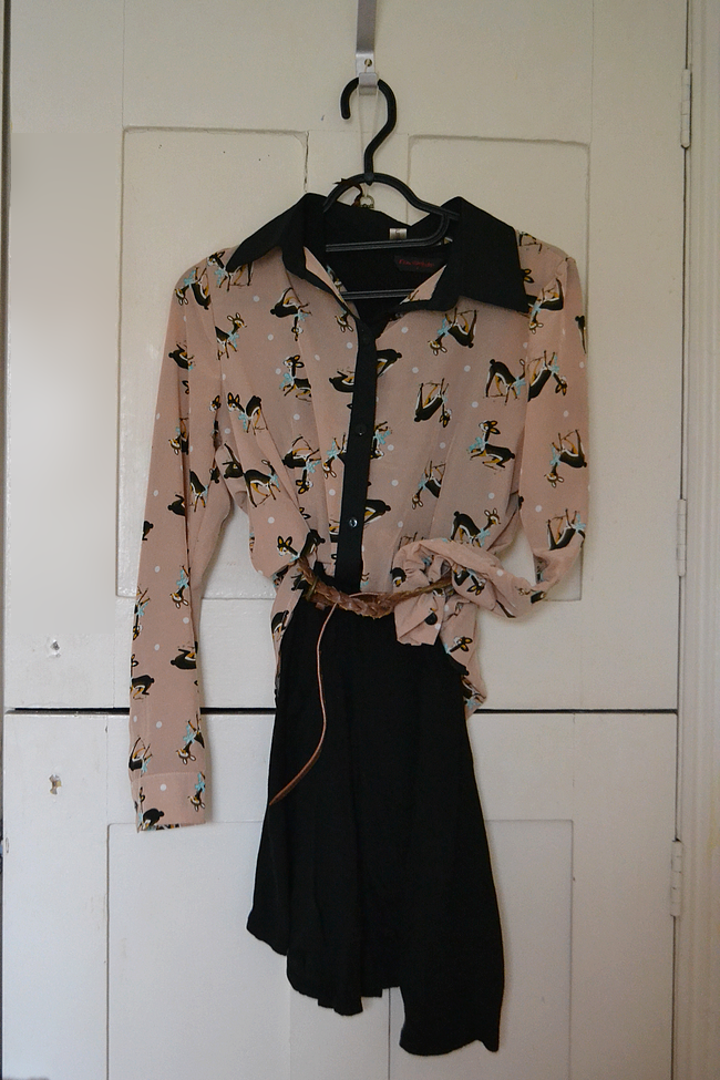 daisybutter - UK Style Blog: what i wore, ever ours, miss selfridge, chanel coco rouge shine, gogo philip, dipped hem, deer print