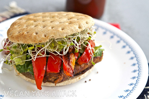 A delicious Homemade Strawberry BBQ Sauce recipe that is unique and easy-to-make! Here, it's slathered on protein-rich tempeh to make a delicious sandwich.