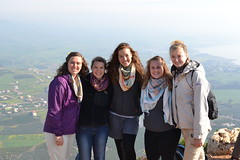 Hannah Tissue, Anna Hershey, Michelle Miller, Taylor Swantz, and Linnea Slabaugh pose with a great view
