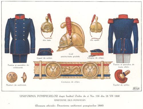 Uniforma pompierilor militari la 1860