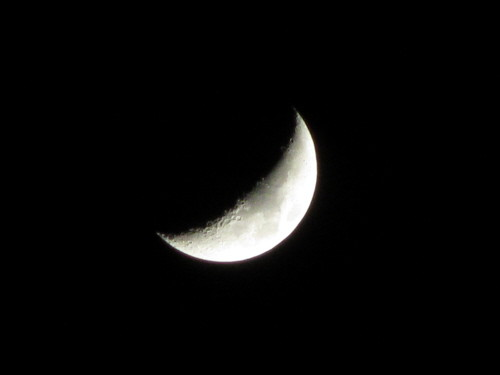 Crescent Moon with craters