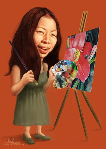 flower painter Joann Durst caricature (revised 2)