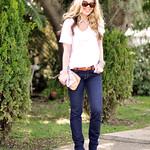 dark jeans and a tshirt- rhinestone and saddle tan