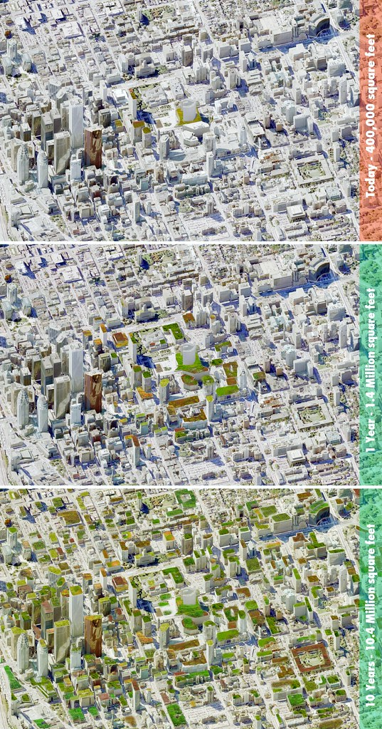 the potential of 10 years of adding green roofs in Toronto (by: Grace Yang, U. of Toronto, via Green Roofs for Healthy Cities)