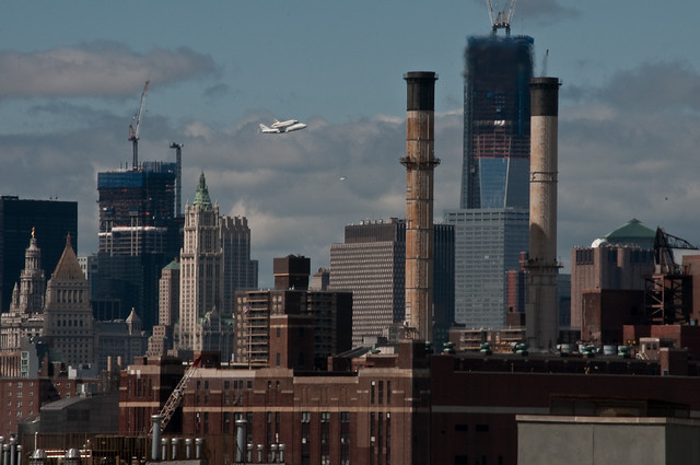 Shuttle Enterprise passes the Freedom Tower on its NYC flyover, 27 April 2012.