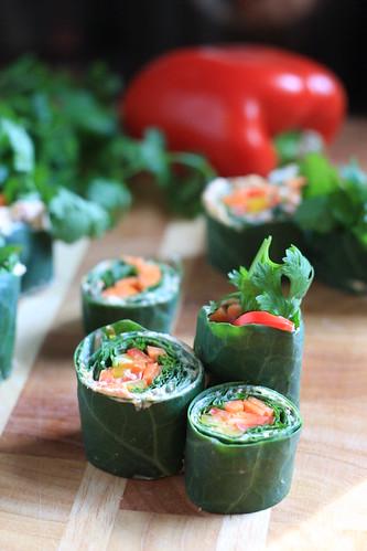 Raw Collard Greens Sushi Rolls