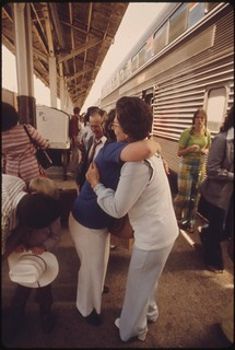 Relatives greet each other on the loading platform at the Fort Worth, Texas, train station after the Lone Star arrived enroute from Chicago to Houston, Texas, June 1974