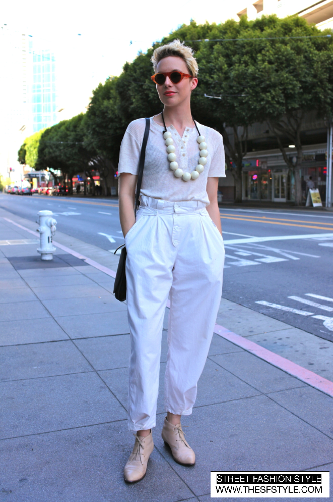 whiteonwhite street fashion style, sf, san francisco,  white on white, tortoise-shell, oversized accessories,