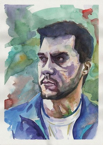 selfportrait in watercolours by dibujandoarte
