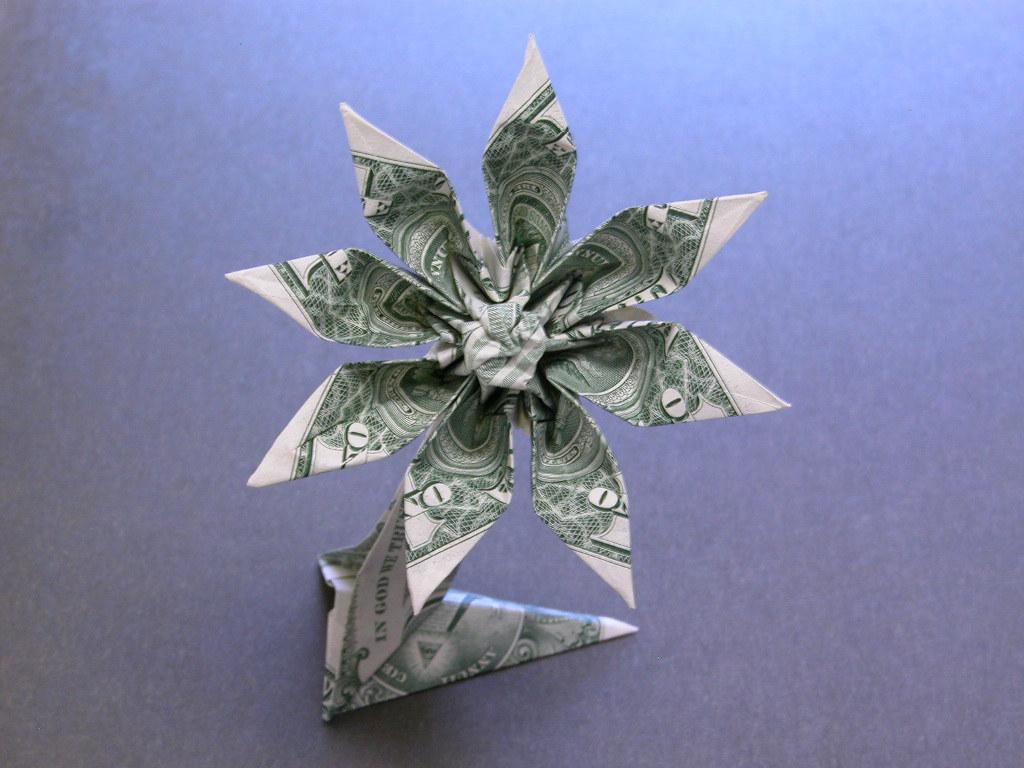 Easy Origami Flower With Dollar Bill