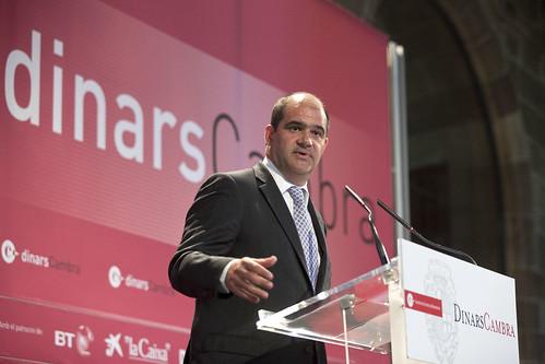 """Carles Sumarroca durante su conferencia en """"Dinars de la Cambra de Comerç de Barcelona"""""""